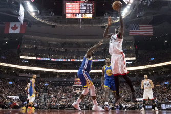 Toronto Raptors' Pascal Siakam drives to the basket.
