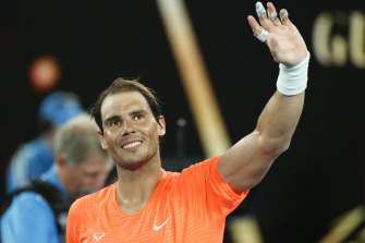 Rafael Nadal celebrates his straight sets win over American Michael Mmoh.