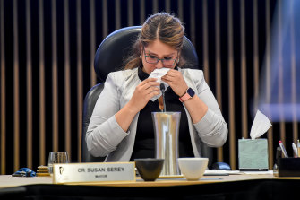 Casey mayor Susan Serey fights back tears at last month's final council meeting.