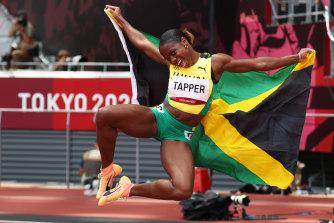 Tapper dance ... Megan Tapper of Jamaica after winning bronze in the 100m hurdles.