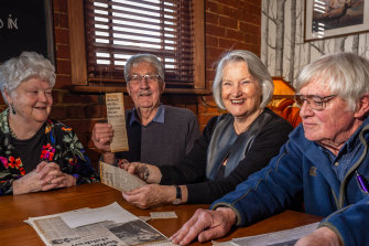 Former Maribyrnong High School teachers (left to right) Sue Bolton, David Holland, Meg Lee and Patrick Kendler. It's been 50 years since teachers went on strike at schools to ensure only qualified teachers taught at secondary schools.