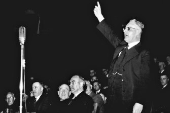 John Curtin's speaks at a rally in 1942. Audiotapes of his speeches are under threat.
