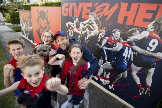 Mad Demon supporters Elliot and Naomi Swart and their kids Dylan, Jade and Blake in Caulfield North.
