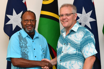 Vanuatu Prime Minister Charlot Salwai met with Scott Morrison during the Pacific Islands Forum in Funafuti, Tuvalu.
