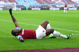 Michail Antonio brings out an unusual celebration.