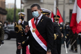 Manuel Merino, Peru's interim president, arrives for a swearing in ceremony in Lima, on Tuesday.
