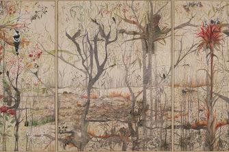 Wynne Prize 2020 finalist Julianne Ross Allcorn's triptych  Mollitium 2 honours the resilience of the Australian bush.
