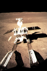 Jade Rabbit, China's lunar rover, leaves wheel marks after leaving the lander that touched down on the surface of the far side of the moon.