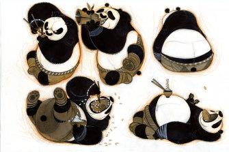 Working drawings for Kung Fu Panda (2008) by artist Nicolas Marlet.