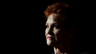One Nation leader Pauline Hanson in Parliament in June.