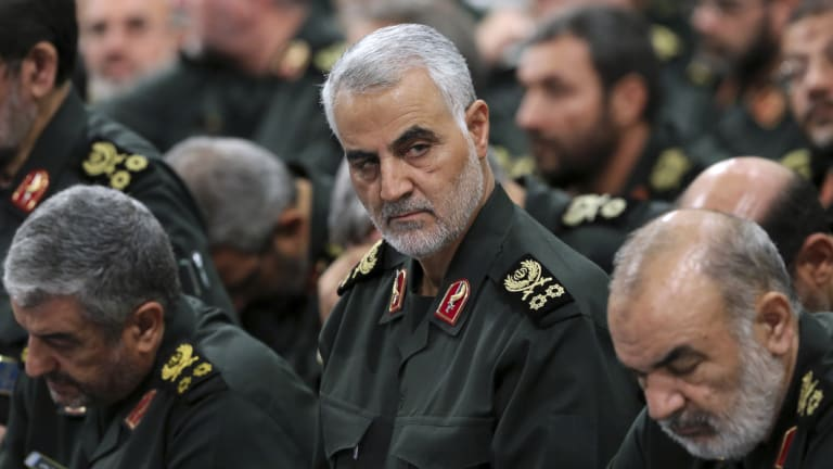 Revolutionary Guard General  Qassem Soleimani, centre, attends a meeting with Supreme Leader Ayatollah Ali Khamenei and Revolutionary Guard commanders in Tehran, Iran.