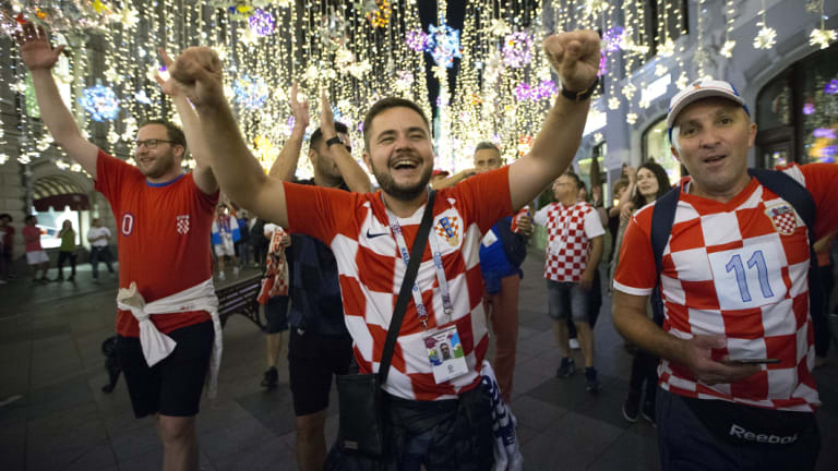 One eyed: Croatian fans will have all eyes on Moscow on Sunday night.