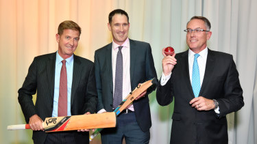 Seven West Media CEO Tim Worner, Cricket Australia CEO James Sutherland and Sports CEO Patrick Delaney at the announcement last week.