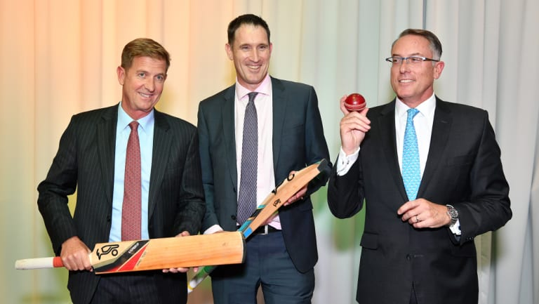 Seven West Media chief executive Tim Worner, Cricket Australia CEO James Sutherland and Foxtel CEO Patrick Delany.