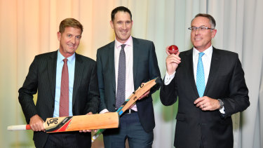 Seven West Media CEO Tim Worner, Cricket Australia CEO James Sutherland and Sports CEO Patrick Delaney at their mega-broadcast deal announcement.