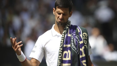 Djokovic reacts to the crowd's cheers for his rival Roberto Bautista Agut's.