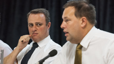 MPs Tim Wilson and Jason Falinski at the franking credit inquiry's Bondi Junction hearings.