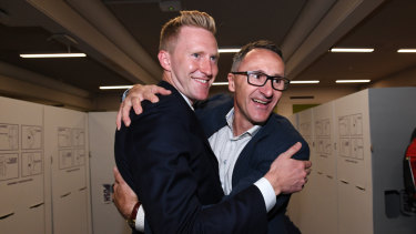 Greens candidate for Higgins Jason Ball and Australian Greens leader Richard Di Natale.