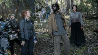 """I really wanted to explore the fallout from violence"": Jennifer Kent directs Baykali Ganambarr and Aisling Franciosi on the Tasmanian set of The Nightingale."