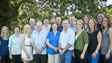 Brendan Maher (second from right) with his very large Canberra family. Parents Peter and Maree (centre) have 13 children.