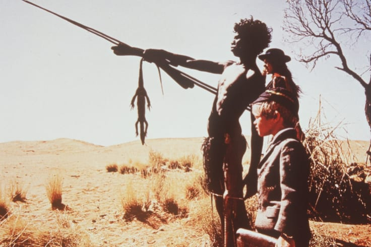 David Gulpilil, Jenny Agutter and Lucien John in Walkabout, directed by Nicolas Roeg.