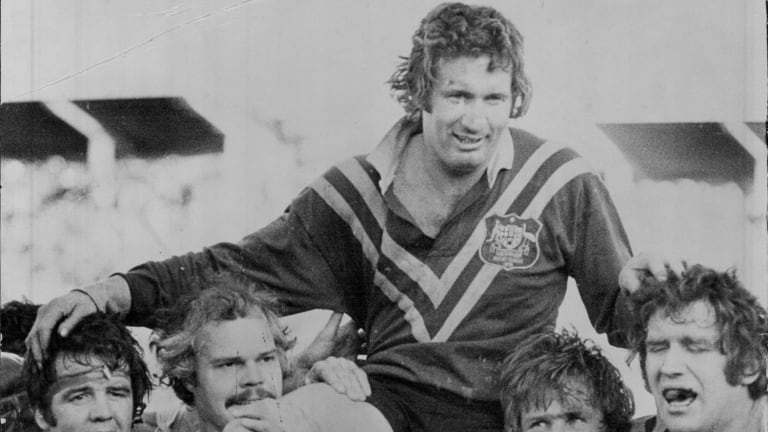 Then Australian captain, Graeme Langlands, is hoisted by teammates after a test match against England in 1974.