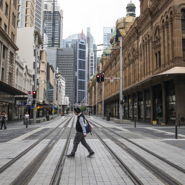 Sydney's George Street was almost empty in April 2020.