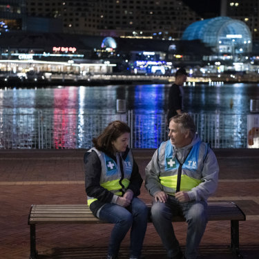 Kathy and Ralph Kelly in Sydney's Darling Harbour, on patrol with the Take Kare program, which protects young people at night.