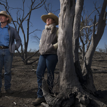 Garry and Leanne Hall, Angus beef cattle producers, on their land that includes part of the Macquarie Marshes.
