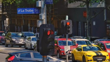 Traffic at the junction of La Trobe and King streets.