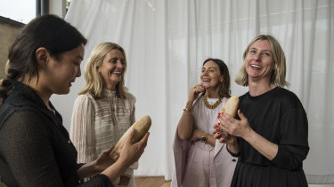Australian Fashion Foundation 2018 scholarship winners Helena Dong (left) and Amanda Nichols (right) with judges Simone (second left) and Nicky Zimmermann.