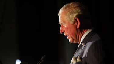 Britain's Prince Charles addresses guests as he visits Australia House.