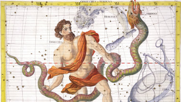 Constellation of Ophiucus from Atlas Coelestis, by John Flamsteed (1646-1710).