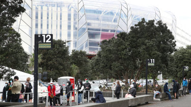 People line up for a Covid-19 test at Eden Park  in Auckland on Friday.