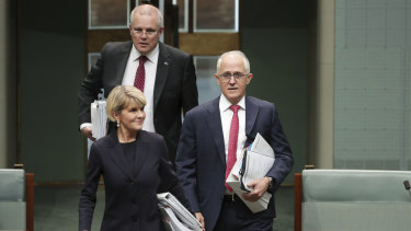 Turnbull, Bishop and Morrison arrive at Question Time.