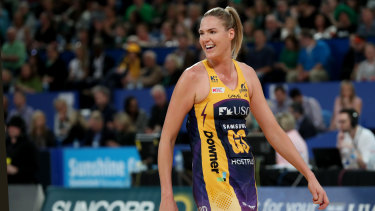 Caitlin Bassett of the Lightning reacts during the Super Netball Grand Final between the West Coast Fever and the Sunshine Coast Lightning at Perth Aren