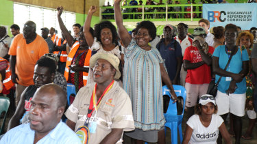 Members of the Bougainville Women's Federation celebrate the referendum result on Wednesday.