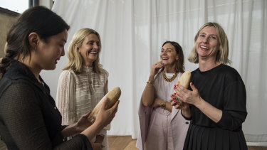 Australian Fashion Foundation scholarship winners Helena Dong (left) and Amanda Nichols (right) with judges Simone (second left) and Nicky Zimmermann.