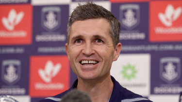 New Fremantle Dockers senior coach Justin Longmuir speaks at a press conference after signing a three year deal.
