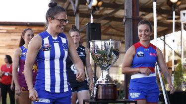 Emma Kearney (left) and her former teammate Ellie Blackburn (right) at the AFLW launch.