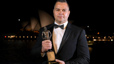 Honour: Rabbitohs coach Anthony Seibold with his Dally M Coach of the Year Award.