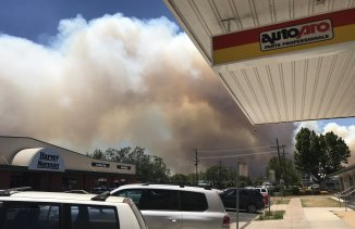 Bushfire smoke moves over Inverell.