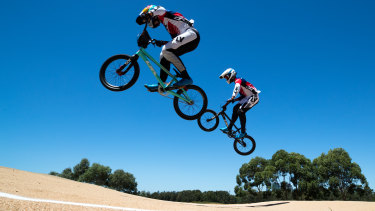 Big air: Kai and Saya Sakakibara in action at Homebush.