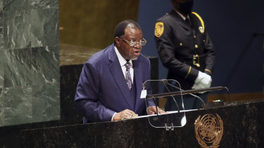 """Namibia President Hage Geingob denounced the perceived """"vaccine apartheid"""", at the UN General Assembly in New York on THursday."""