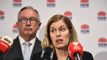 NSW Chief Health Officer Dr Kerry Chant  and Health Minister Brad Hazzard on Monday afternoon.
