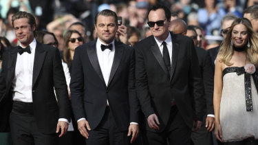 From left: Brad Pitt, Leonardo DiCaprio, director Quentin Tarantino and Margot Robbie at the premiere of the film 'Once Upon a Time in Hollywood' at Cannes in May.