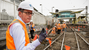 Daniel Andrews at Dandenong station on  Monday.