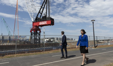 Premier Gladys Berejiklian and Minister for Transport and Roads Andrew Constance at the M4-M5 Link site on Thursday.