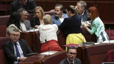 Greens leader Richard Di Natale in discussion with Greens senators in Parliament.