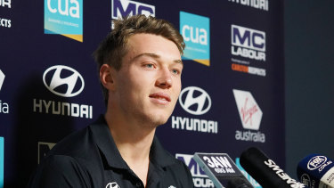 Patrick Cripps speaks to the media on Tuesday.